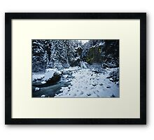 Winter scene snow in the forests and frozen creek of the Alps - color - Il Sangue dell'Inverno Framed Print