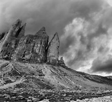 Black and white landscape fine art panoramic photo print - Tre Cime Dolomites mountain in the Alps - Cielo di Roccia by visionitaliane