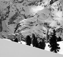 Fort from the World War I in the Dolomites black and white photography of the Alps in Winter snow and rock fine art - Il Tempo by visionitaliane