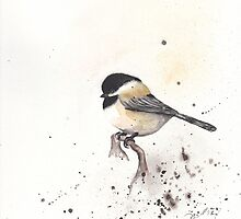 Snowy Chickadee by Morgan Campbell