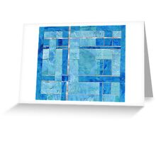 Woven Collage Monoprints in Blue Greeting Card