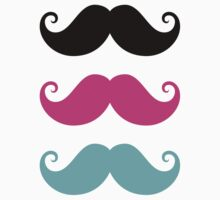 Mustache! Black, hot pink and aqua blue by Mhea