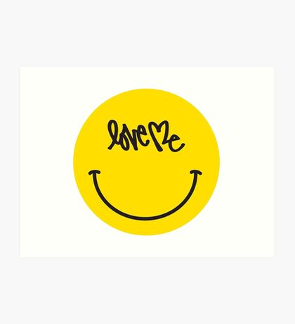 Love Me Smiley Face Art Print