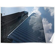 Sky and Sky - Toronto Skyscraper Reflecting Fluffy White Clouds Poster