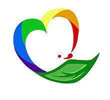 Leaf Rainbow Heart Photographic Print