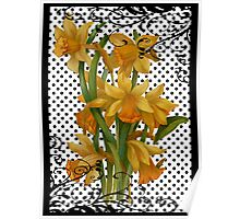 Antique Daffodils on Black Polka Dots Poster