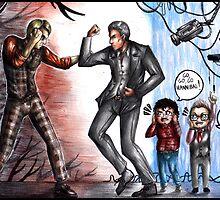 Hannibal Lecter vs John Reese by Furiarossa