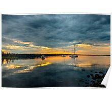 Sailboats at dawn Poster