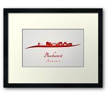 Bucharest skyline in red Framed Print