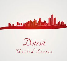 Detroit skyline in red by Pablo Romero