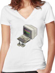 Atari 400 Setup Women's Fitted V-Neck T-Shirt