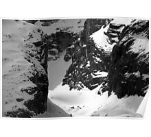 snow in the dolomites mountains - fine art black and white - rock and snow Poster