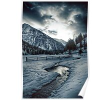 Alpine meadow under the snow - color photo - Dove l'inverno bacia il cielo Poster