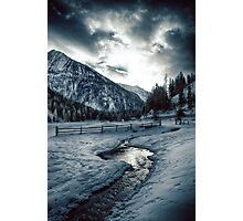 Alpine meadow under the snow - color photo - Dove l'inverno bacia il cielo Photographic Print