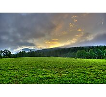 Dawn on a green pasture in the Alps landscape mountain photography color wall art - Sorge il Sole Photographic Print