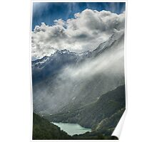 View from the mountains alpine Lake with clouds and rain landscape color wall art - Su fra le montagne Poster