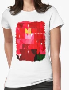 Mottled Red Poinsettia 2 Abstract Circles 1 Womens Fitted T-Shirt