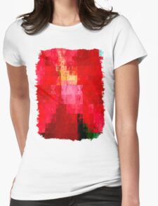 Mottled Red Poinsettia 2 Abstract Circles 2 Womens Fitted T-Shirt