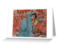 Mucha Winter with Tea Greeting Card