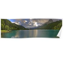 Landscape lake between the mountains at sunset fine art panoramic color - Felicità Poster