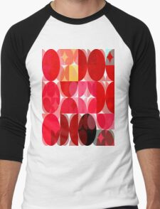 Mottled Red Poinsettia 2 Abstract Circles 3 Men's Baseball ¾ T-Shirt