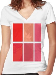 Mottled Red Poinsettia 2 Abstract Rectangles 1 Women's Fitted V-Neck T-Shirt
