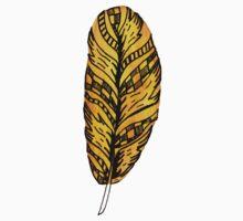 Yellow Ochre Feather One Piece - Short Sleeve
