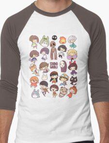 Studio Ghibli - Chibi Characters Collaboration [VERTICAL] Men's Baseball ¾ T-Shirt