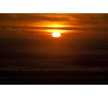 Color wall art sunset on the Pacific Ocean with pellicans - La dove sparisce il Sole Photographic Print