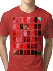 Mottled Red Poinsettia 2 Art Rectangles 1 Tri-blend T-Shirt