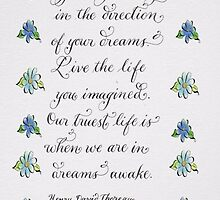 Handwritten Thoreau quote calligraphy  by Melissa Goza