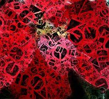 Mottled Red Poinsettia 2 Letters 4 by Christopher Johnson