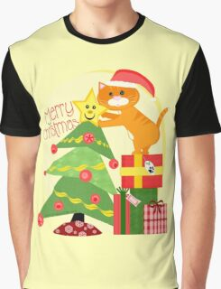 Christmas Santa Tabby Cat T-Shirt Graphic T-Shirt