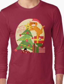 Christmas Santa Tabby Cat T-Shirt Long Sleeve T-Shirt