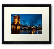 John A. Roebling Suspension Bridge at Dusk Framed Print