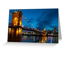 John A. Roebling Suspension Bridge at Dusk Greeting Card