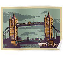 Tower Bridge vintage style illustration Poster
