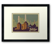 Battersea Power Station vintage style illustration Framed Print