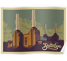 Battersea Power Station vintage style illustration Poster