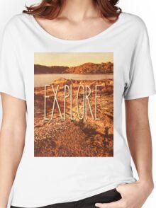 Explore Seaside Rocks Sunset Vintage Bay Adventure Women's Relaxed Fit T-Shirt