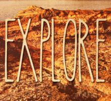 Explore Seaside Rocks Sunset Vintage Bay Adventure Sticker