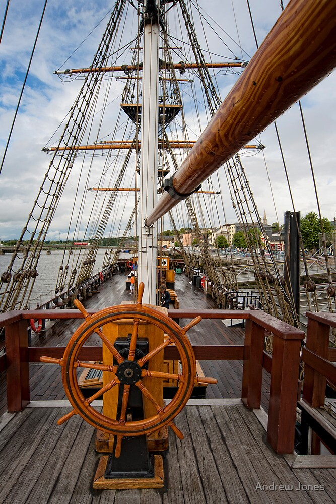Ship's Wheel, The Dunbrody famine ship, New Ross, Co. Wexford, Ireland by Andrew Jones