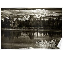 Swamp lake with dramatic snowy mountains Pacific Northwest landscape fine art monochrome wall art decoration - Montagne Innevate Poster