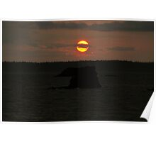 Fine art color landscape sunset on Puget Sound orange sun with dark sea and rocks - Scende il sole Poster