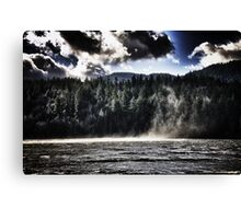 Lake with wind landscape naturalistic water whirlwind under dramatic sky color wall art - L'incontro Canvas Print