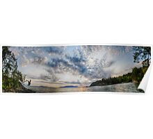 Sunset on the sea landscape of the Pacific Northwest Larrabee State park sunset on Puget Sound panoramic fine art - M e Nuvole Poster