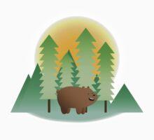 Grizz & Pine Trees - We Bare Bears Kids Tee