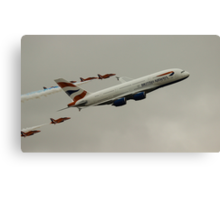 British Airways A380 and Red Arrows Canvas Print