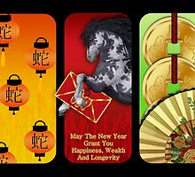 Year Of The Horse, Chinese New Year Card by Moonlake