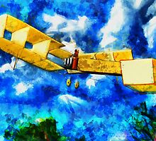 A digital painting of 14-bis (Quatorze-bis) Pioneer Canard Biplane by Dennis Melling